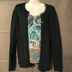 Liz baker hunter green cardigan sweater size large